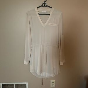 Cream drawstring 3/4 sleeve dress